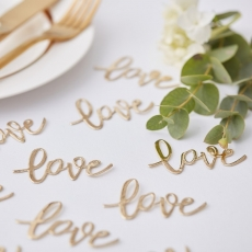 Konfetti Love gull - Gold Wedding