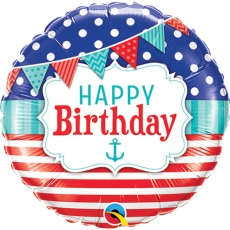 Folieballong Birthday Nautical & Pennants