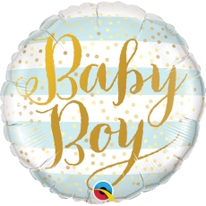 Folieballong Baby Boy Blue Stripes