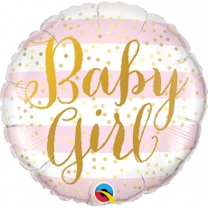 Folieballong Baby Girl Pink Stripes