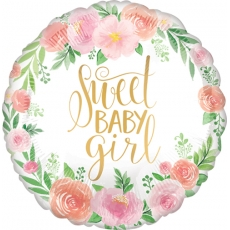 Folieballong Sweet Baby Girl Floral