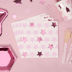 Lunsjservietter Little Star Pink, 16 stk.