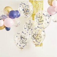 Konfettiballonger Baby Shower - Pink & Navy Gender Reveal, 5 stk.