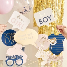 Photo booth props Pink & Navy Gender Reveal, 10 stk.
