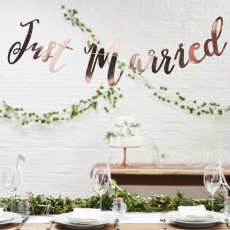 Ginger Ray banner Just Married Rose Gold