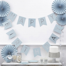 Ginger Ray flaggbanner Happy Birthday Blue Perfection, 2,5 m