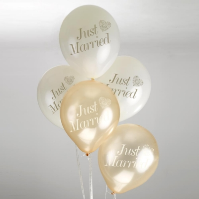 Ballonger Just Married Vintage Romance krem/gull, 8 stk.