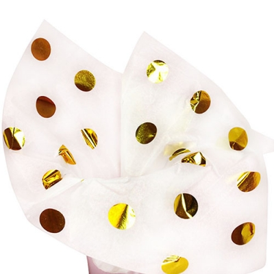 Silkepapir Gold Dots metallic, 4 ark