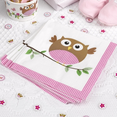 Lunsjservietter Little Owls rosa, 16 stk.