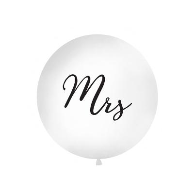 Stor ballong Mrs, hvit/svart