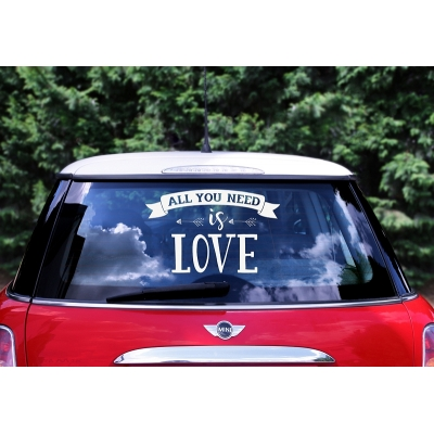 Klistremerker til bryllupsbil All you need is love
