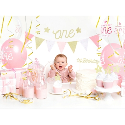 Flaggbanner Pink & Gold, 1,3 m