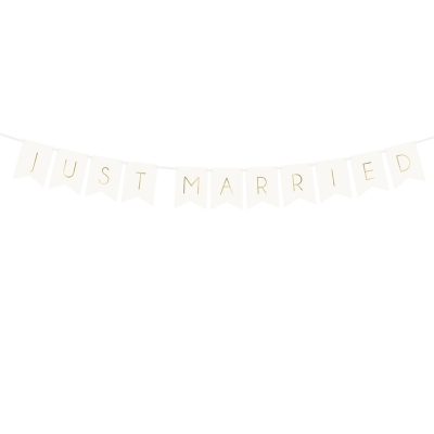 Flaggbanner Just Married hvit, 1,55 m