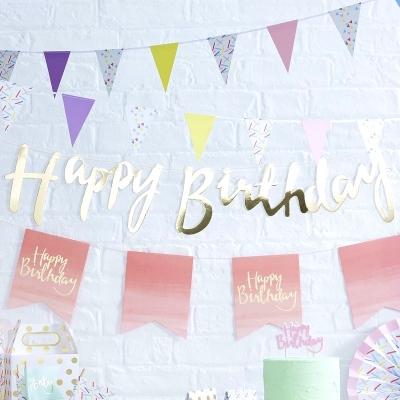 Banner Happy Birthday Gold, 1,5 m