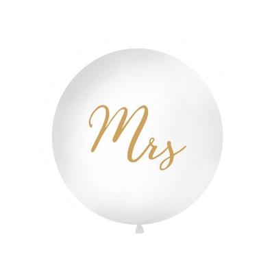 Stor ballong Mrs, hvit/gull