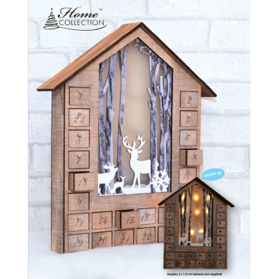 Adventskalender av tre Advent House m/ LED