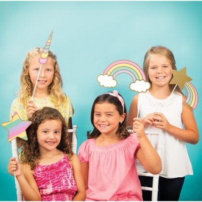 Photo booth props Unicorn Sparkle (enhjørning), sett 10 stk.