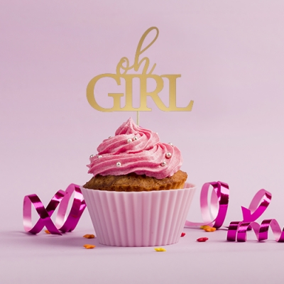 Cupcake toppers Oh Girl, 6 stk.