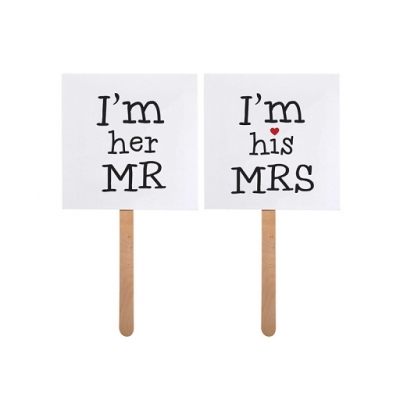 "Props til bryllup ""I'm his Mrs"" / ""I'm her Mr"", 2 stk."