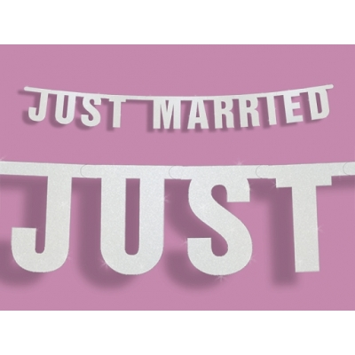 Bryllupsbanner Just Married hvit