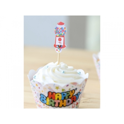 Cupcake wrappers og toppers Birthday, 12 stk.