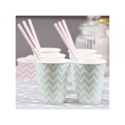 Pappkopper Chevron tiffany, 8 stk.